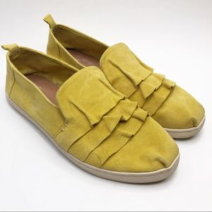 Toms Yellow Ruffle Suede Slip Ons